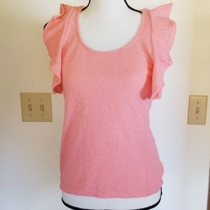 Madewell pretty pink ruffle cotton top xs nwt